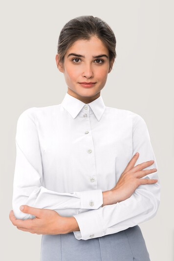 Hakro Langarm Bluse 121 Performance Comfort weiß bei workers friend