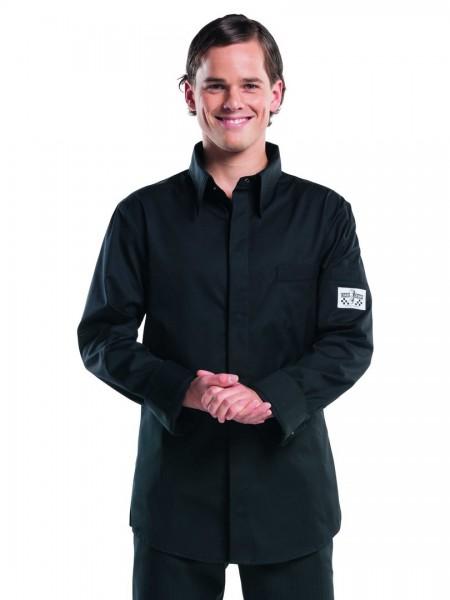 Schwarzes_Kochhemd_Chef_Shirt_mit_Druckknoepfen