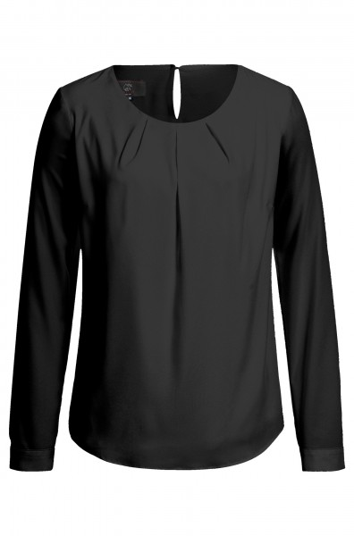 Damen Chiffon Shirt 6576 Langarm mit Faltenpartie