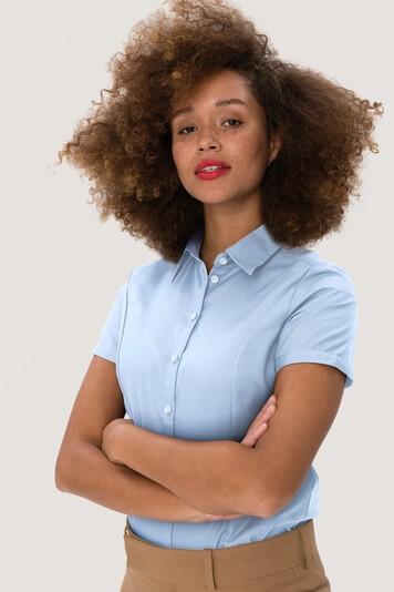 Damen Business Bluse 112 Kurzarm von Hakro aus reiner Baumwolle
