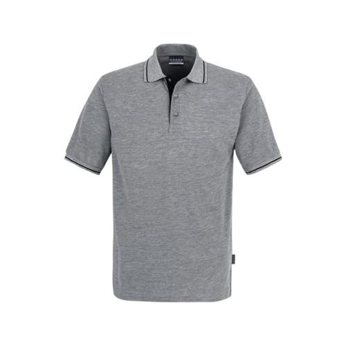 SALE Graues Poloshirt 803 mit schwarzem Kontraststreifen
